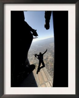 US Air Force Academy Parachute Team Jumps Out of an Aircraft over Nellis Air Force Base, Nevada Pre made Frame
