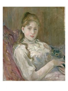 Young Girl with Cat, 1892 Giclee Print by Berthe Morisot