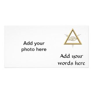 Golden 3 D Gods Eye Symbol Personalized Photo Card