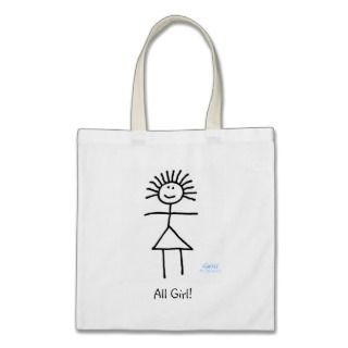 Cute Funny All Girl Cartoon Tote Bag Template