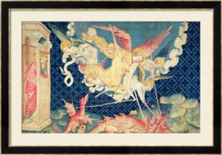St. Michael and His Angels Fighting the Dragon, No.36 from The Apocalypse of Angers, 1373 87 Framed Giclee Print