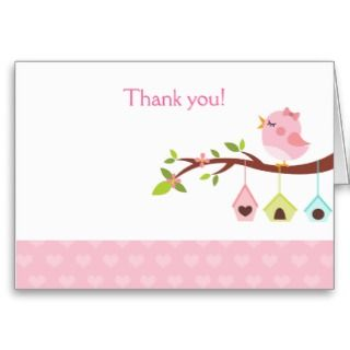 Little Birdie (Pink) Birthday Thank you Card