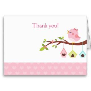 Little Birdie (Pink) Birthday Thank you Card