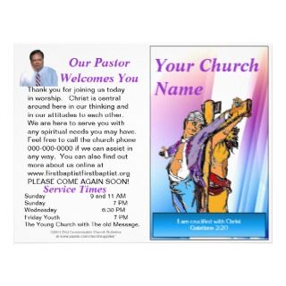 Customizable Weekly Church Bulletin (Inside Blank) Letterhead Template