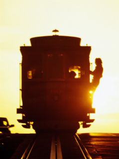Silhouetted Cable Car, California Street, San Francisco, United States of America Photographic Print by Richard Cummins