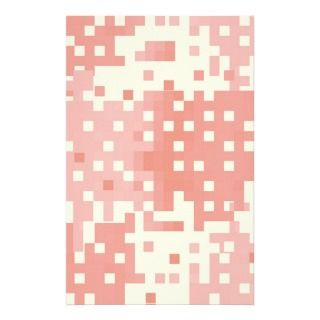 Red and Pink Pixel Pattern Custom Stationery