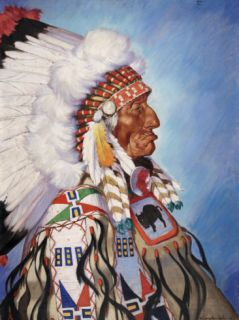 Portrait of 95 Year Old Sioux Chief One Bull Photographic Print by W. Langdon Kihn