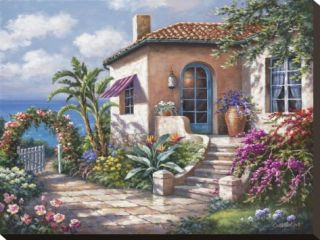 Coastal Cottage View Stretched Canvas Print by Sung Kim
