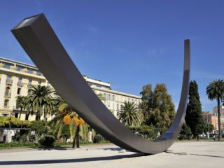 Arc De 115.5 Degrees by Bernar Venet and Albert 1st Gardens, Nice, Alpes Maritimes, Provence, Cote  Photographic Print by Peter Richardson