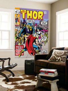 Thor #179 Cover: Thor, Balder and Sif Laminated Oversized Art by Jack Kirby