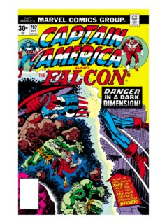 Captain America And The Falcon #202 Cover: Captain America and Falcon Fighting and Flying Print by Jack Kirby