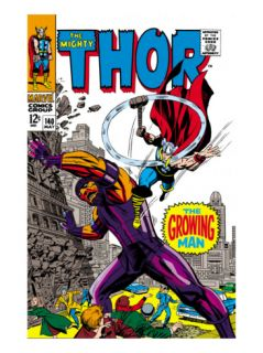 Thor #140 Cover: Thor and Growing Man Fighting Print by Jack Kirby