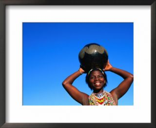 Zulu Woman Carrying Beer Pot, Zululand, South Africa Pre made Frame