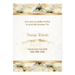 White Rose Elegance   Shower Personalized Announcement