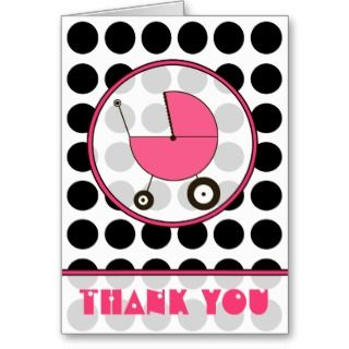 Black Polka Dot / Pink Baby Carriage Thank You by thepinkschoolhouse