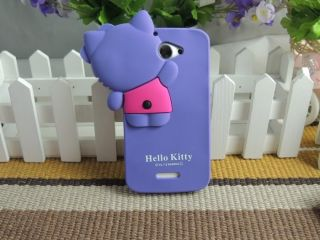 shy Hello Kitty Hide Silicone Soft Cover Case for HTC ONE X ONE XL G23