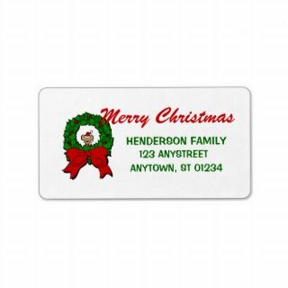 Christmas Mouse Wreath Address Label