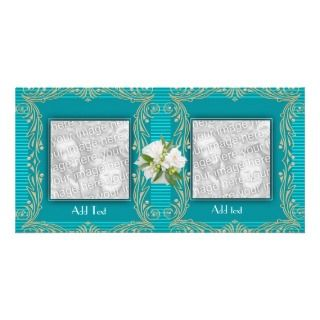 Photo Card Aqua Blue Ripple Floral 2 Double Frame
