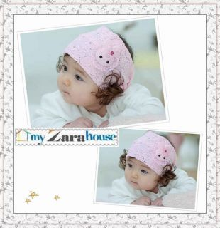 Select Any 1 From 8 Colors Baby Girl Lace Crochet Wig Hair Headband