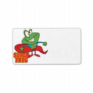cute super frog superhero cartoon personalized address label