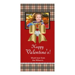 Valentines Photo Card Plaid Red Gold Jewel Bow