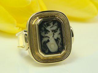 585 gelb GOLD Herren RING Wappen Ring Siegel Ring HANDARBEIT