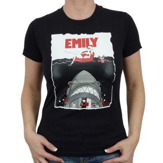 Emily the Strange   Shark Attack Girlie Shirt, schwarz