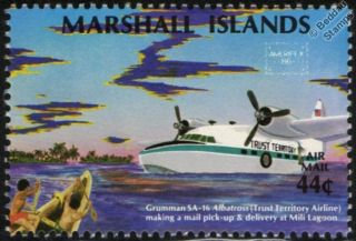 GRUMMAN SA 16 ALBATROSS Seaplane Aircraft Mint Stamp (1986 Marshall