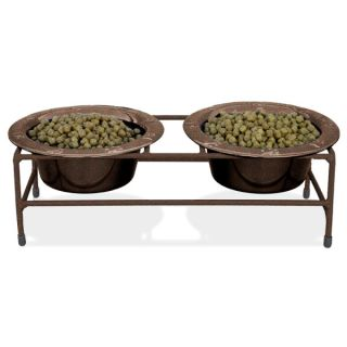 "Platinum Pets Modern Double Diner Copper Vein ""Olde World"" Stand With Two Stainless Steel Bowls   Dog   Boutique"
