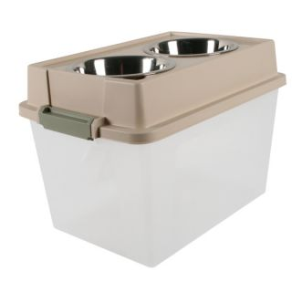 Iris Elevated Pet Feeders and Storage   Almond