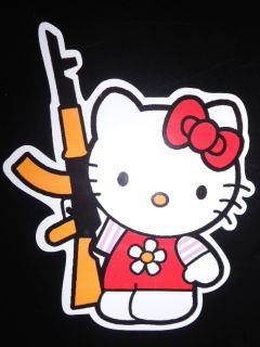 FUN AUFKLEBER HELLO KITTY PUMP GUN KALASCHNIKOW FUN STICKER 10 cm x 15