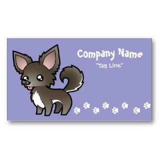 Cartoon Chihuahua (blue and white long coat) Business Card Template