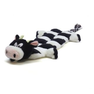 Plush Puppies Squeaker Mat Long Body Cow Dog Toy   Toys   Dog
