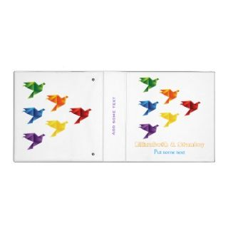 Origami birds in rainbow colors wedding planner binder