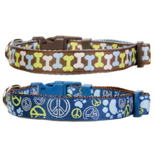 Top Paw� Peace Signs & Bones Adjustable Dog Collars   Collars   Collars, Harnesses & Leashes