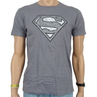 Superman   Logo Distressed T Shirt, grey