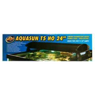 Zoo Med AquaSun Dual T5 HO Double Light Linear Fluorescent Hoods   Lighting & Hoods   Fish