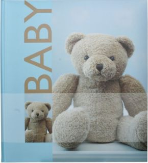 HENZO Baby Fotoalbum blau & Aufbewahrungsbox Teddy Babyalbum Album