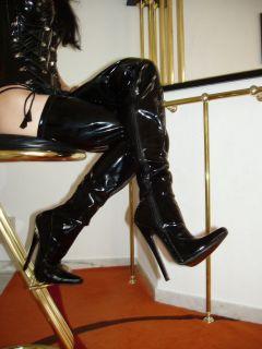Lack Stiletto High Heels Stiefel Overknee Rot 44 Stiletto Absatz Schnurung
