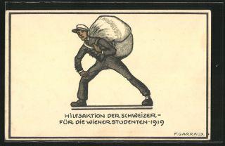 Künstler AK sign. F. Garraux Hilfsaktion der Schweizer f. d. Wiener