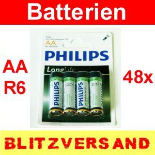48 Stk Philips Longlife Batterien AA R6 1,5V Mignon Zellen Zink Kohle