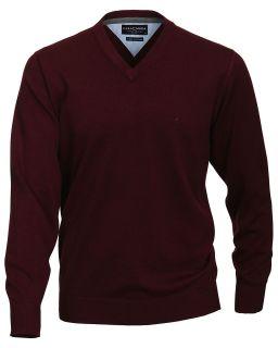 Extra Lang   CASA MODA V Neck Pullover in Überlänge, Weinrot