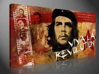 CHE GUEVARA 100x50cm KUBA POP ART BILD COLLAGE LEINWAND DRUCK KUNST