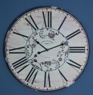 Grosse Nostalgie Wanduhr Holzuhr Uhr 60cm Shabby Chic Style