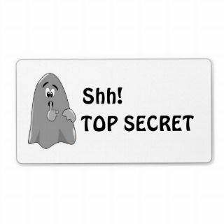 Shh Cartoon Ghost Top Secret Halloween Custom Shipping Label