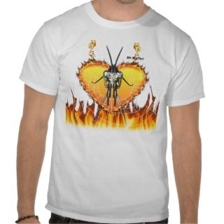 Chromed praying mantis design 3 with fire and web. t shirts