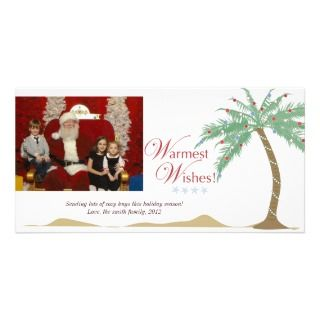 Christmas Palm tree Warmest Wishes Beach Holiday Personalized Photo