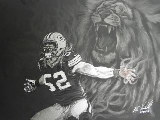 GreenBay Packers Original Artist drawing CLAY MATTHEWS by Artist Ben