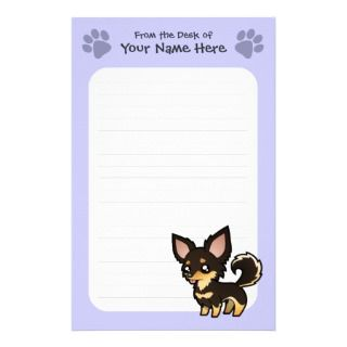 Cartoon Chihuahua (black and tan long coat) Stationery
