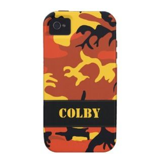Customizable Orange Camo Tough iPhone 4 Case